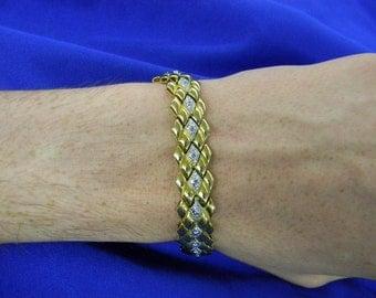 """Sterling Silver 925 Lovely Square Pattern Bracelet 8"""" Long ET 6103"""
