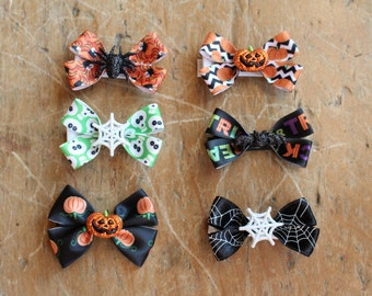 halloween ribbon and charms bow hair clips