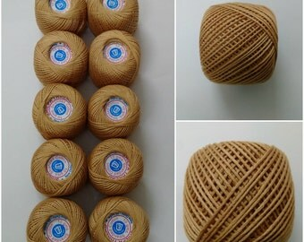 EARTH YELLOW - 6 Ply Strand Cotton Thread Yarn - Crochet Cross Stitch Embroidery - SET Lot of 10