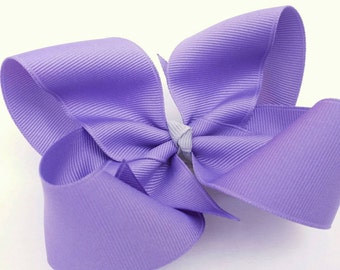 Purple hair bow, lavender bow, twisted boutique bow, light purple loopy bow, solid grosgrain ribbon bow, alligator clip, girls hair bow