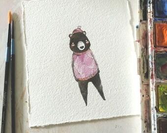 Mr. Plum Bear - original watercolor & graphite illustration, children's woodland friend