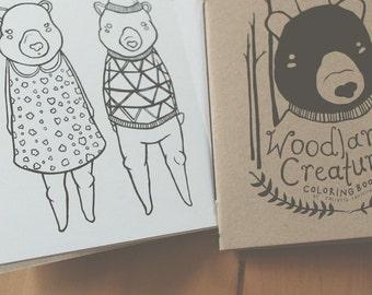 Woodland Creatures, a mini coloring book