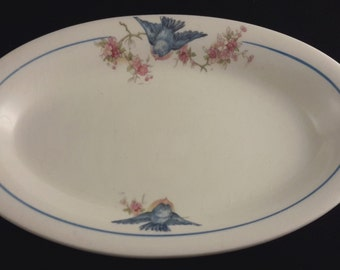 Small Oval 'Bluebird' Platter by Crown Potteries Company