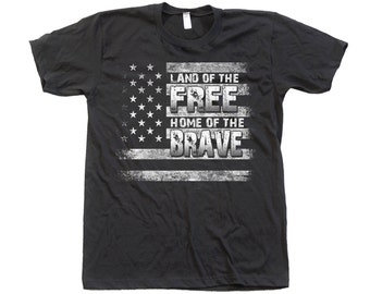 Land of the Free Home of the Brave T Shirt Hand Screen Print Crew Neck