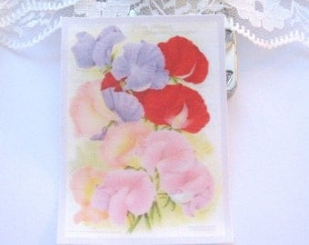 dollhouse flower sweet pea tea towel 12th scale miniature