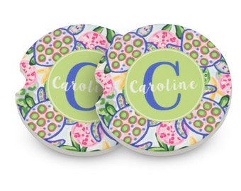 Personalized Car Coasters - Monogram Car Coasters - Preppy Car Coasters - Gifts by Mad For Monograms