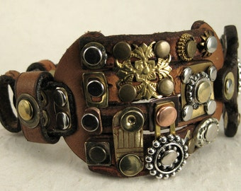 341 Steampunk Burning Man Assemblage Palimpsest Bracelet Recycled Jewelry Industrial Machine Age