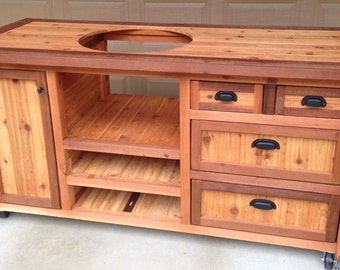 Reclaimed rustic furniture for indoor outdoor by for Outdoor grill cabinet plans