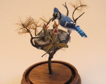 Dollhouse miniature Blue Jay with nestlings - 1:12 scale - made by Fanni Sandor IGMA Fellow