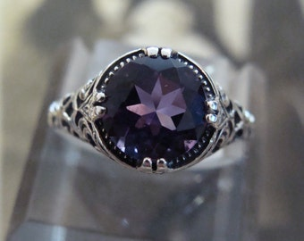 Sweet Sterling Amethyst Ring Size 6.75