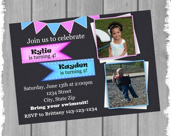 Brother and Sister Birthday Invitation