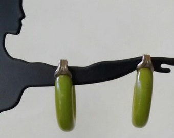 1940s Green Bakelite Hoop Earrings