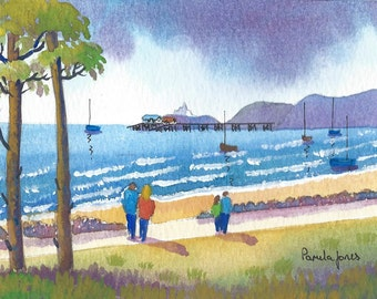 Original Watercolour, Painting, Strolling To Mumbles, Swansea, Wales, 9ins x 7ins, Fathers Day, Gift Idea, Art and Collectibles