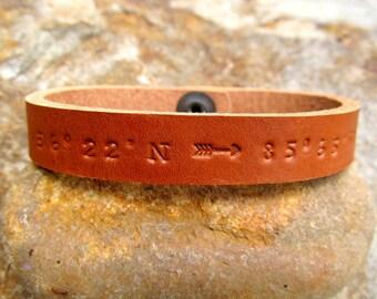 Custom Coordinates - Mens Womens Personalized Leather Bracelet - Latitude Longitude GPS Coordinates Leather Cuff - Single or Double Arrow