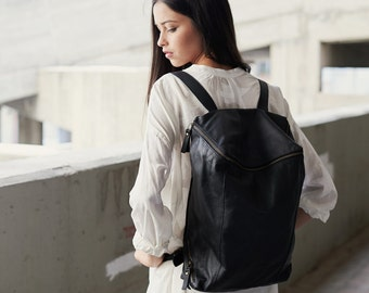Sale 15% Off Black Leather Backpack, Women Backpack, Leather School Backpack, College Bag, Travel Backpack, Rucksuck