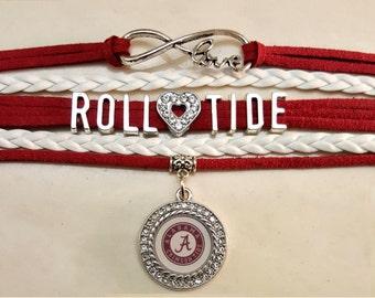 Roll Tide, University of Alabama Infinity Bracelet