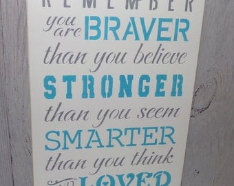 Always Remember You Are Braver Than You Believe- 9 1/2 X 18 Painted Wood Sign-Turquoise Bedroom-Turquoise Nursery-Turquoise Bedroom