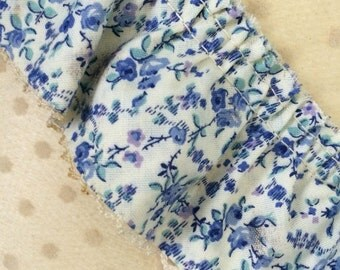 floral fabric trim, vintage sewing notions, set