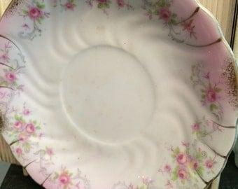 Vintage pink floral Lefton China saucer, vintage plate, floral plate