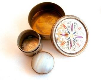 Tiny Box - Lot - Set of 2 - Pill Box - Round Box - Vintage Box