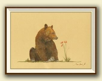 PRINT-Bear - Grizzly brown bear  - print watercolor painting art wall bear brown animal forest american- Art Print by Juan Bosco