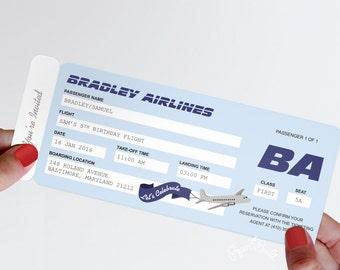 Airplane Party Airline Ticket Invitation, Airline Ticket Invite, Birthday DIY, Destination Wedding Invitation, Baby Shower, Pilot Retirement