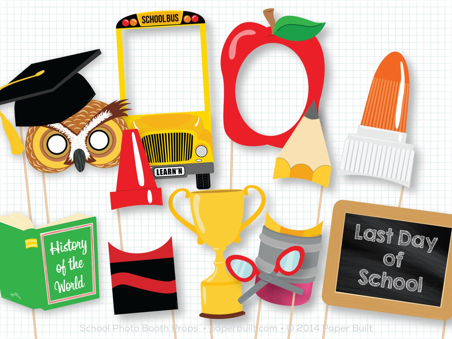 Back to school photo booth props first day photobooth props for Photo decoration ideas