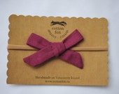 Prairie Hand Tied Bow in Linen Plum