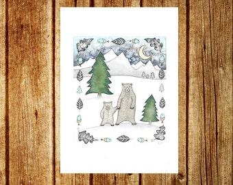Sale! Winter Bear Print - Woodland Forest A5 Signed Print Illustration - Nursery Childrens Cute Bear Mountains Room Decor Wall Art