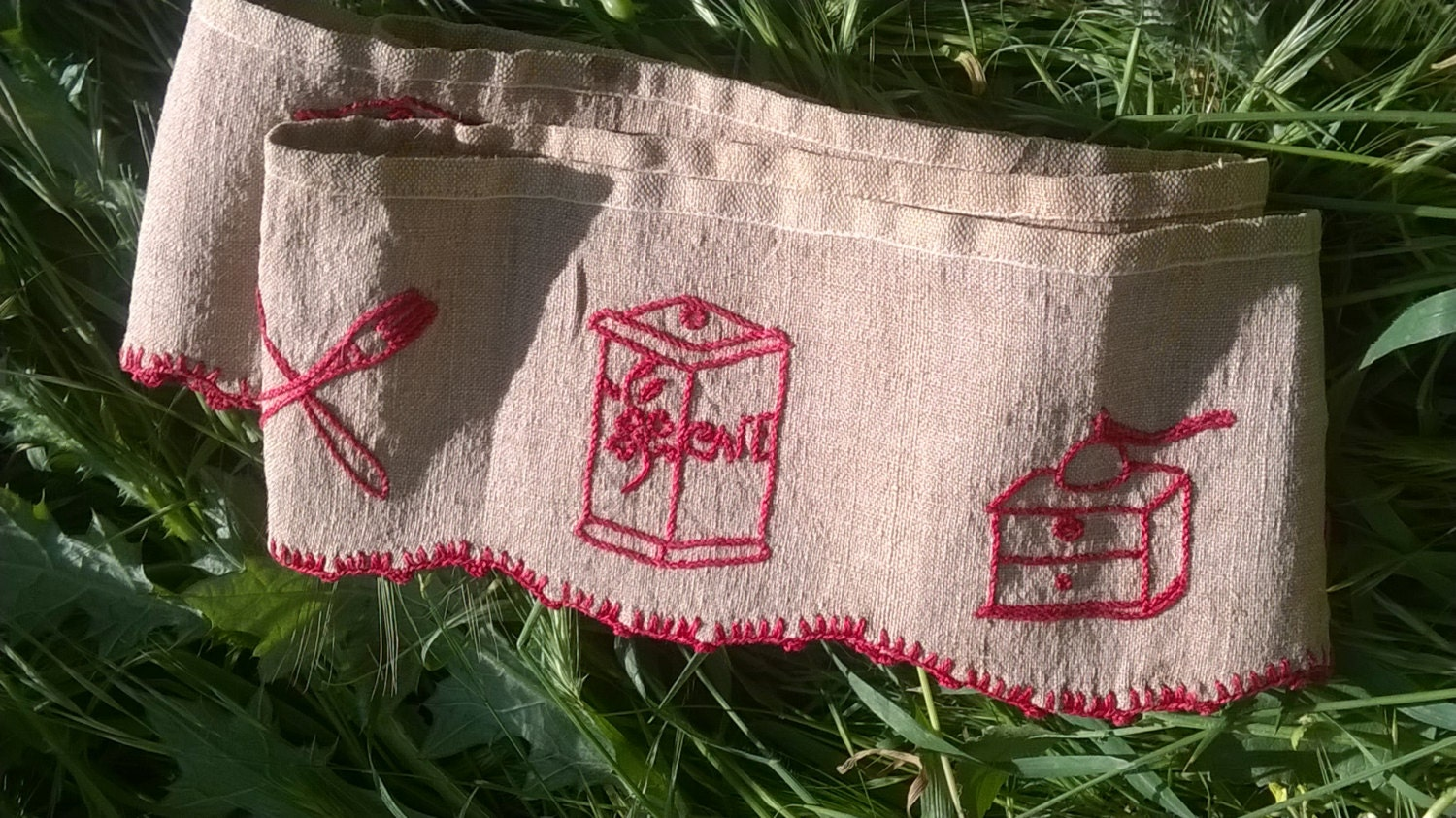 French cafe curtains for kitchen - Victorian Caf Curtain Linen French Country Kitchen Valance Red Hand Embroidered Coffee Grinder Coffee Pot Caf French