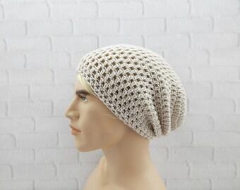 Crochet Hat for Men, Slouchy Winter Hat, Crochet Beanie, Slouch Hat, Beige Beanie, Gift for Men, Vegan Friendly, Skater Style, Slouch Beanie