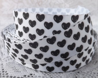 Heart ribbon 1 inch black heart grosgrain ribbon 25mm heart ribbon