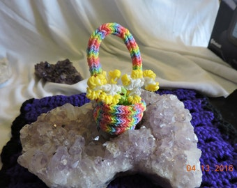 Rubber Band Basket With Flowers