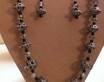 Handmade, Original Design Necklace & Earring Set - Black/Silver/Blue