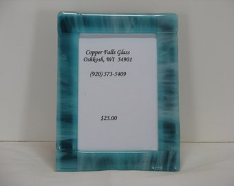 Teal 5x7 Fused Glass Picture Frame