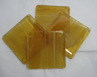 Gold and White 4X4 Fused Glass Coasters - Set of 4