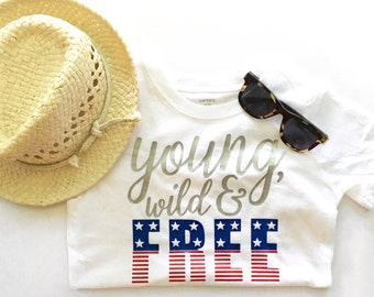 baby 4th of july outfit, fourth of july shirt, Boys 4th of July Shirt, My first 4th of july, young wild and free, fourth of july baby