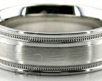 18K White Gold Wedding Band Ring  7MM Wide  Sizes 4-12  Free Engraving  New