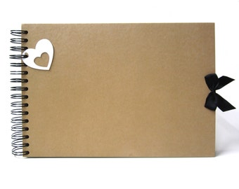 Scrapbook, A5 A4, Blank Bow Heart, Card Pages, Photo Album, Keepsake, Guestbook
