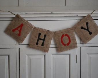 AHOY!  Pirate Themed Burlap Birthday Banner