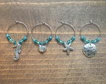 Beaded Wine Glass Charms Seashell, Sand Dollar, Seahorse, Starfish, Turquoise, Handmade, Handcrafted, Set of 4,