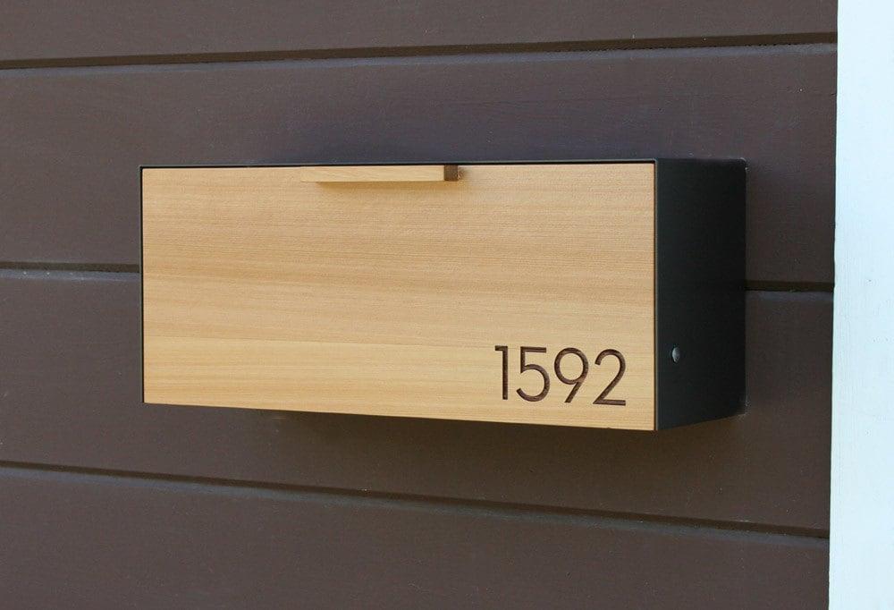 Modern Mailbox Cedar And Stainless Steel Mailbox