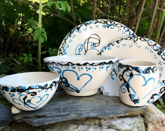 Hearts and Vines Ceramic Dinner Ware Set of 5