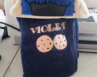 Cookie Monster Inspired Hooded Towel