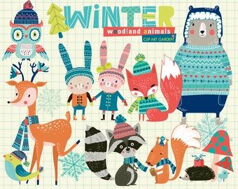 Winter woodland animals for Personal and Commercial use. (paper crafts, card making, scrapbooking)
