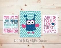 Now I lay me down Nursery art Pink aqua Christian nursery art Baby girl decor Alphabet I love you print Nursery wall decor Whimsy owl #1443