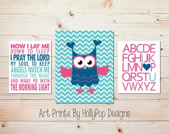 Now I lay me down Nursery art Pink aqua Christian nursery art Baby girl decor Alphabet I love you print Nursery wall decor Whimsy owl #1443