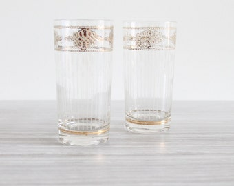 Pair of Vintage Culver Highball Glasses with Ornate Gold Detail