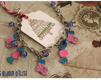 Pink and Turquoise Enamel Charms Bracelet Candy and Christmas Stocking Charms Bracelet - Gift Under 10