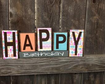 Happy Birthday wood Blocks-Birthday blocks